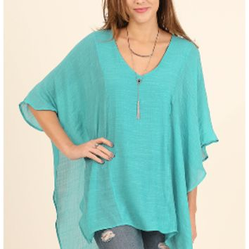 Brighten The Mood Top-Turquoise