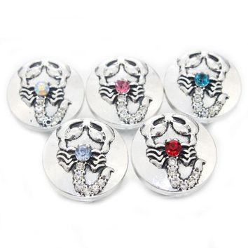 12 pcs/lot 18mm 5 color Scorpion mixed Shiny metal Snap Button for women bracelet jewelry 021613