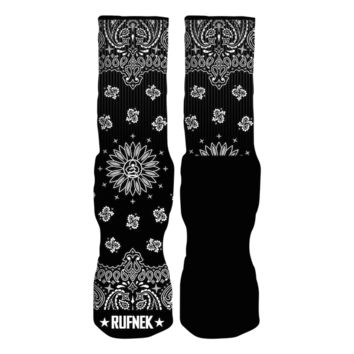 Rufnek Hardware Custom Paisley Black Socks
