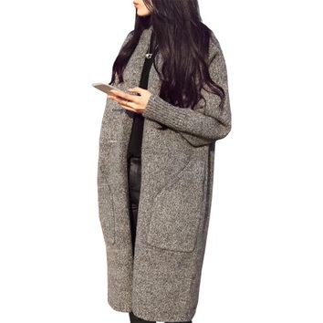 Woolen coat Korean version new fall fashion long cardigan women thick female knit sweater  jumper clothing vestidos LXJ228