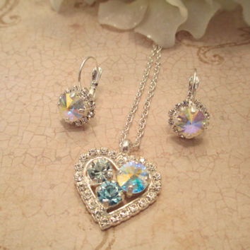 swarovski crystal heart pendant, wedding, bridal bridesmaid, aroura borealis, sparklesandlove2