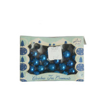 Vintage Miniature Ornaments Christmas Tree Shiny Brite - Royal Blue - Set of 24 - Bulbs 1950s
