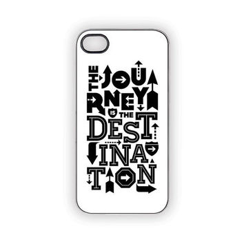 Journey Quote iPhone Case 5 4S/4 Father's Day Black & White Typography Signs Arrows Adventure Direction Outdoors Urban Zen Faith