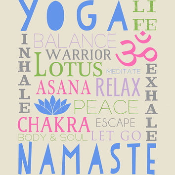 Custom Gift for Yoga Lover - 8x10 Subway Art Print, Word Art - Namaste, Yoga Friends, Yoga Studio Decor, Yoga Studio Art Print, Typography