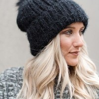 Cozy Soft Fur Pom Beanie - Black