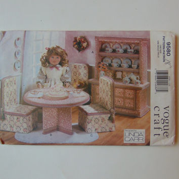 Vintage Vogue Craft Pattern 9580 Doll's Tea Party Furniture Set Designed by Linda Carr UNCUT