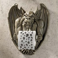 SheilaShrubs.com: Flush the Gargoyle Bathroom Tissue Holder CL56600 by Design Toscano: Wall Sculptures