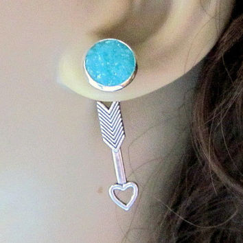 Caribbean Blue Druzy Stud Earrings Reverse Earrings Back Front Earrings Heart Arrow Interchangable Studs Silver Arrow Aquamarine Studs