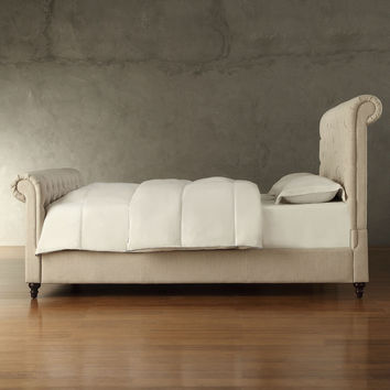 Queen size Sleigh Style Beige Linen Upholstered Bed with Headboard & Footboard
