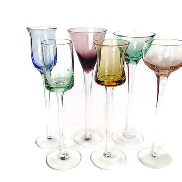 Long Stem Aperitif, Cordial Glasses, Multi Color, S/6
