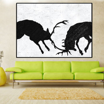 Large abstract deer Painting wall art canvas, original Abstract painting, black and white canvas painting large wll art Signed