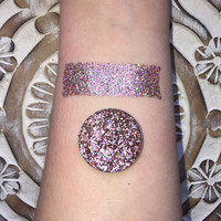 Holographic peach dust pressed glitter eyeshadow, 26mm magnetic pan or jar