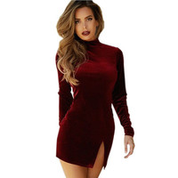 Sexy Women Slit Bodycon Dress Velvet Long Sleeve Evening Party Cocktail Mini Dress Wine Red Pencil dress 2017