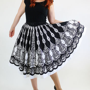 SALE - Retro Southwestern  Black White Sequined Novelty Print Circle Skirt. Festive. Party. Swing Dance. Summer. Fall
