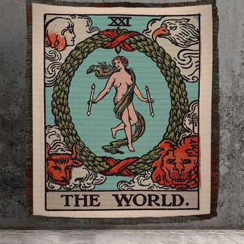 Large Woven Tapestry - The World Tarot Card Tapestry - Rider Waite Deck - Cotton