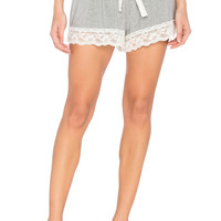 Flora Nikrooz Snuggle Knit Lace Shorts in Heather Grey