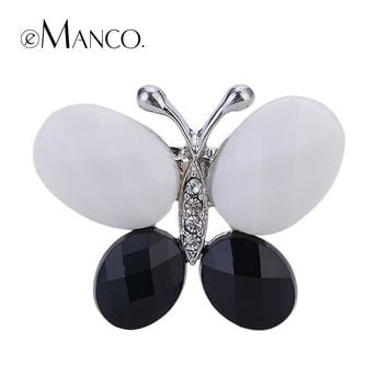 Black and white Cute acrylic butterfly brooches eManco 2014 New promotions High Quality Fashion bijoux BR02759