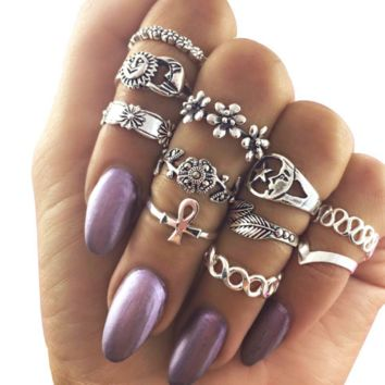 Retro hollow carved sun moon stars stars flowers 11 joint rings eleven sets