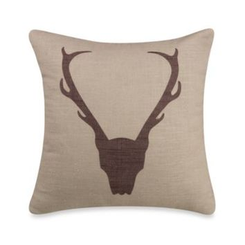Antlers Linen Square Throw Pillow