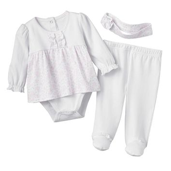 Quiltex Ruffled Floral Bodysuit Dress & Footed Pants Set