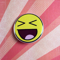"""Awesome squinty face 1.25"""" pin button badge pinback"""
