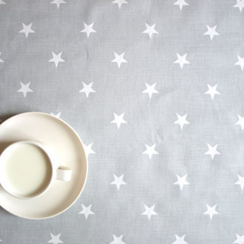 "Tablecloth grey with white stars 37""x 37"" or made to order your size, also napkins, table runner available, with GIFT"