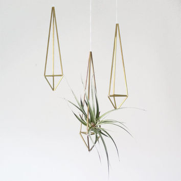 brass himmeli plant holder   prism ornament  modern by HRUSKAA