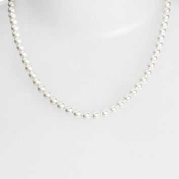 Women's Nadri Faux Pearl Collar Necklace - Rhodium