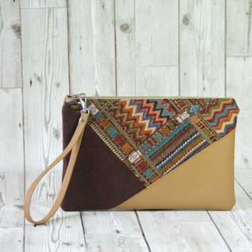 Vegan leather clutch, Geometric clutch bag, Mexican clutch purse, Boho clutch leather, Envelope clutch, Brown clutch leather wristlet