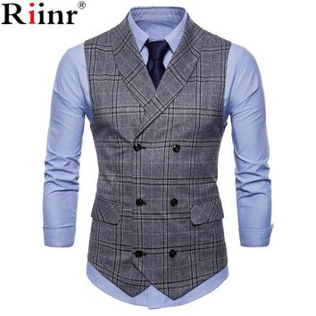 New Arrival Dress Vests For Men Slim Fit Men Suit Vest Male Waistcoat Gilt Home Casual Sleeveless Formal Business Jacket