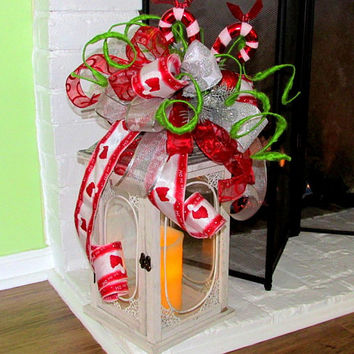 Christmas swags, lantern swag Christmas, lantern toppers, Christmas lantern bow, wreath swag, candy cane, holiday lantern swag, mantel decor