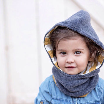Hooded Fleece Cowl for Kids.reversible.Childrens Hat.Boys Hat.Girls Hat..Hooded Scarf..Toddler..Childrens Clothing..Baby and Toddler