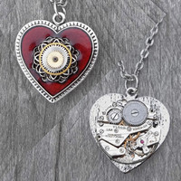 REVERSIBLE Heart Pendant: Clockpunk Steampunk Necklace, Gear-Encrusted Antiqued Silver & Red Heart with Watch Movement on Curb Link Chain