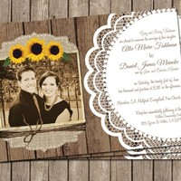Sunflower Wedding Invitation,Burlap and Lace, Photo, Digital file, Printable
