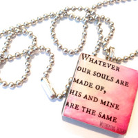 Wuthering Heights Quote Glass Tile Pendant or Key Chain Ring
