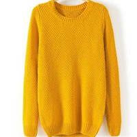 'The Crystal' Mustard Round Neck Kitted Sweater