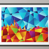 New York City Abstract Skyline, Art Print (489)