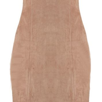 Louise Suede Body-con Dress - Nude
