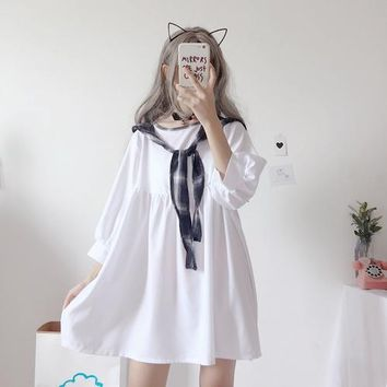 Summer Sweet Japanese women kawaii Doll White mini Dress Harajuku Casual Loose Thin vadim Navy collar plus size party Dress