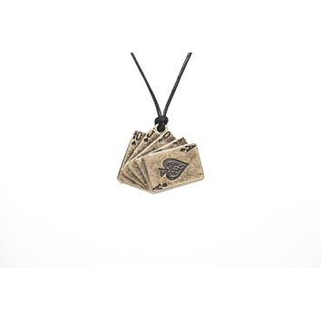 Playing Cards Flush Royal Unisex Necklace with Rope