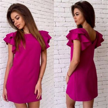 ICIKHY9 2016 New Arrival Women's Summer Style Butterfly Sleeve Bodycon Dress Casual Sexy Halter Mini Dress Party Dresses