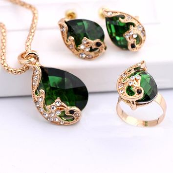 New Fashion 18k Yellow Gold Filled Clear Resin Crystal Peacock Necklace Earring Ring Wedding Jewelry Set