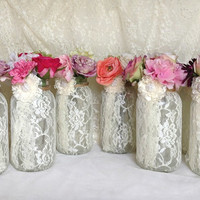 10 ivory lace covered 64 OZ  ball mason jar vases wedding decoration, engagement, anniversary or home deocration