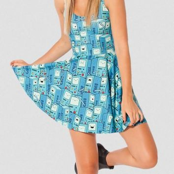 EAST KNITTING New Fashion X-033 Women Blue Adventure Time Printed pleated Sexy Dress Women Clothing Plus Size