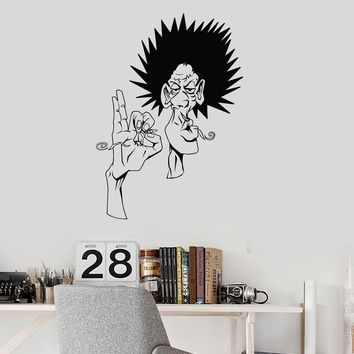 Vinyl Wall Decal Smoking Hippie Joint Weed Marijuana Rastafarian Art Stickers Mural (ig5636)