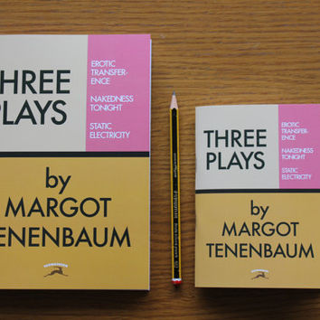 "The Royal Tenenbaums notebook - ""Three Plays"" by Margot Tenenbaum book as a lined pad - Wes Anderson - rushmore"