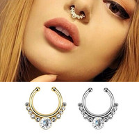 Surgical Steel Titanium Gold Silver Plated Crystal Fake Nose Ring fake septum rings Piercing Body Jewelry Hoop Aros For Women