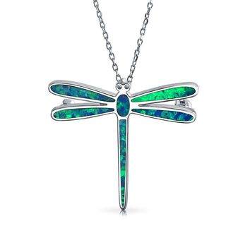 Dragonfly Blue Created Opal Pendant Necklace Sterling Silver Chain