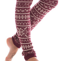 Warm Winter Leg Warmers, Burgundy