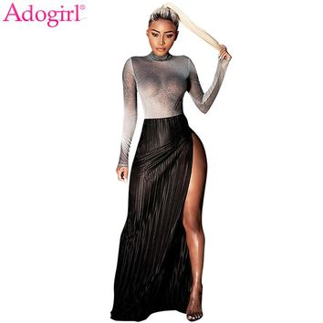 Adogirl Hot Sale Women Two Piece Bodycon Dress See Through Silver